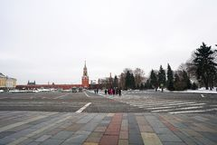 Tourist walking in area of  red square at Moscow,Russia stock image