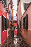 Colorful rural buildings of Island Burano, Venice, Italy Royalty Free Stock Photo