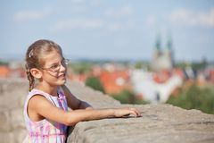 Tourist walking in europe city. Royalty Free Stock Photos