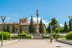 Tourist walking in front of the Fountain at the Jardines Del Triunfo Stock Image