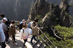 Tourist walking on Huangshan - Yellow Mountain, China Royalty Free Stock Photography