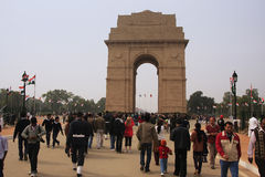 Tourist walking by India Gate, New Delhi Royalty Free Stock Photo