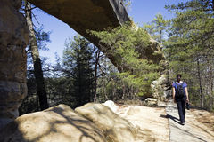 Tourist walking by the natural bridge Royalty Free Stock Photo
