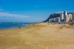 Tourist Walking On Pesaro Beach In The Summer Season Stock Images