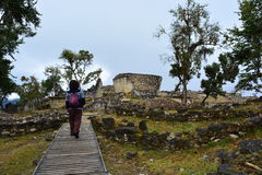 Tourist walking in the Ruins of Kuelap, the lost city of Chachapoyas, Peru. The lost city of Kuelap belonged to the Chachapoyas indian tribe, and is one of the royalty free stock image