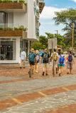 Tourist Walking at San Cristobal Street, Galapagos, Ecuador Royalty Free Stock Photography