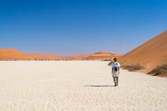 Tourist walking on the scenic dunes of Sossusvlei, Namib desert, Namib Naukluft National Park, Namibia. Adventure and exploration. In Africa royalty free stock photo