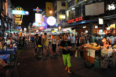 Tourist Walking Street in Bangkok Stock Images