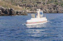Tourist walking submarine. Faliraki. Rhodes.  Greece Royalty Free Stock Images