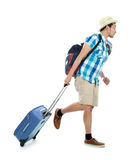 Tourist walking with suitcase Stock Photos