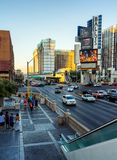 Tourist walking at sunset in Las Vegas Royalty Free Stock Photography