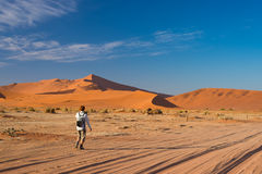 Tourist walking to Sossusvlei, Namib desert, Namib Naukluft National Park, scanic travel desetination in Namibia. Adventure and ex. Ploration in Africa Stock Photo