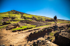 The tourist walking on a trekking path in Madeira Stock Image