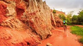 Tourist Walks along Fairy-Stream past Rocks Green Grass stock video