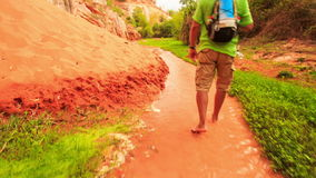 Tourist Walks Barefoot along Fairy-Stream by Rocks Grass stock video footage