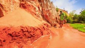 Tourist Walks Barefoot along Fairy-Stream Shallow Water stock video