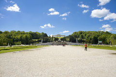 Tourist walks at garden in Gloriette Schonbrunn palace Stock Images