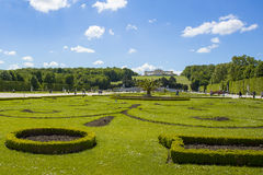 Tourist walks at garden in Gloriette Schonbrunn palace Royalty Free Stock Photography