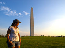 Tourist in Washington DC. Near the Obelisk Royalty Free Stock Photography