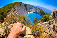 Tourist watching at Navagio Shipwreck panoramic scenic view spot Royalty Free Stock Photo