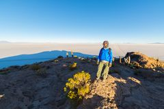 Tourist watching sunrise at Uyuni Salt Flat, travel destination in Bolivia. Wide angle shot from the summit of the Incahuasi Islan. D Stock Images