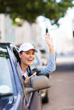 Tourist waving car Stock Photography
