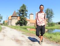 Tourist on way to Svihov castle Royalty Free Stock Photo