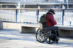 Tourist in wheel chair wheelchair at Southbank Stock Images
