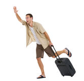 Tourist with wheels bag hurry to airplane. Worried tourist with wheels bag hurry to airplane Royalty Free Stock Image