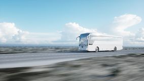 Tourist white bus on the road, highway. Very fast driving. Touristic and travel concept. 3d rendering. Tourist white bus on the road, highway. Very fast driving Stock Photos