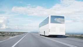 Tourist white bus on the road, highway. Very fast driving. Touristic and travel concept. 3d rendering. Tourist white bus on the road, highway. Very fast driving stock illustration