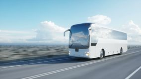 Tourist white bus on the road, highway. Very fast driving. Touristic and travel concept. realistic 4k animation. Tourist white bus on the road, highway. Very stock footage
