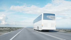 Tourist white bus on the road, highway. Very fast driving. Touristic and travel concept. realistic 4k animation. Tourist white bus on the road, highway. Very stock video