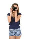 Tourist who takes pictures isolated on white background Stock Photos