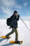 Tourist in winter mountains Stock Photography