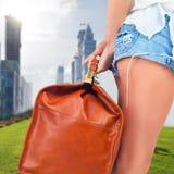 Tourist woman adventure with luggage in Dubai Stock Image