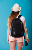 Tourist woman with backpack rear view Royalty Free Stock Image