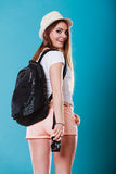 Tourist woman with backpack side view Royalty Free Stock Photo