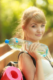 Tourist woman with backpack water bottle Royalty Free Stock Photo