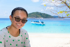 Tourist woman on the beach at Similan islands, Thailand Royalty Free Stock Photography