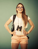 Tourist woman with binocular Stock Images