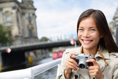 Tourist woman on boat tour Berlin, Germany Royalty Free Stock Images