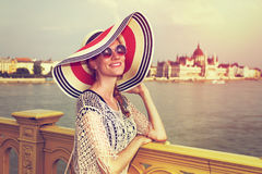 Tourist woman at Budapest Royalty Free Stock Images