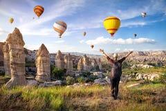 Tourist woman in Cappadocia Stock Photos