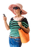 Tourist woman with cell phone Stock Photos