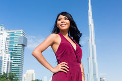 Tourist woman on city vacation in Dubai Royalty Free Stock Image