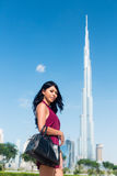 Tourist woman on city vacation in Dubai Royalty Free Stock Photo