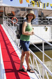 Tourist woman cruise ship embarkation Stock Images