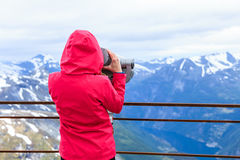 Tourist woman on Dalsnibba viewpoint Norway Royalty Free Stock Photo