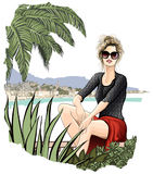 Tourist woman enjoying the sun Royalty Free Stock Photography
